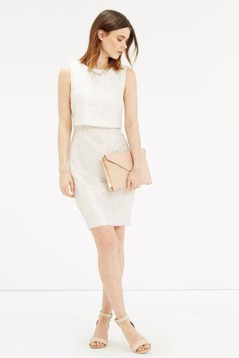 Oasis, Metallic Lace Shift Dress Off White 2