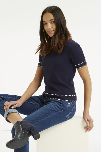 Oasis, Cute Tipped Crew Top Navy 1