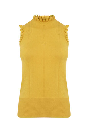 Oasis, Sleeveless frill knit Ochre 0