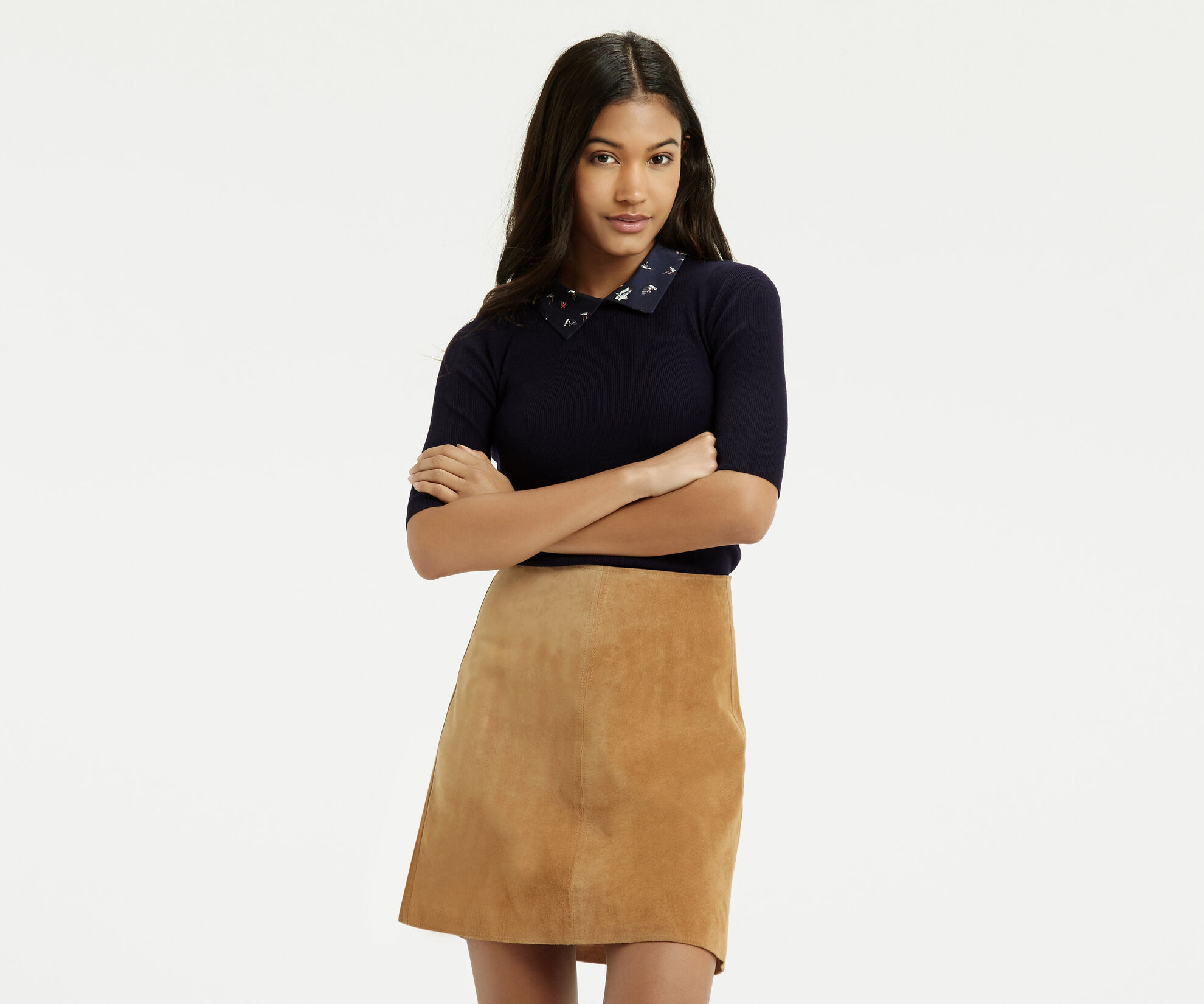 Oasis, Bird Collar Knit Navy 1
