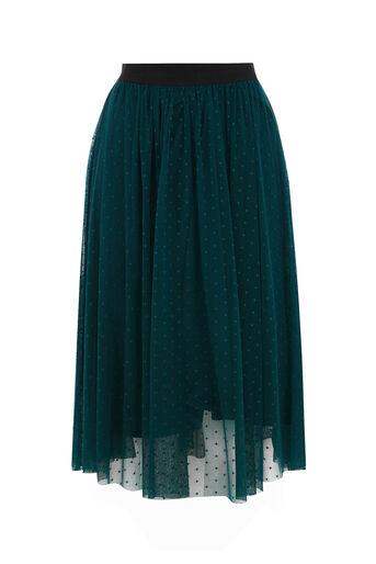 Oasis, SPOT MESH GATHERED SKIRT Turquoise 0