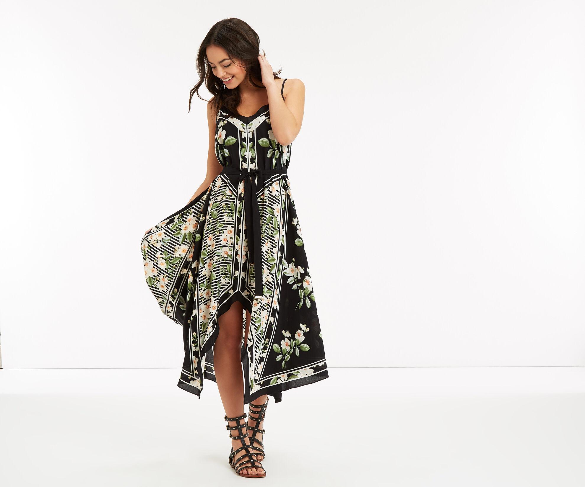 Oasis, CHELSEA SILK FLORAL DRESS Black 1