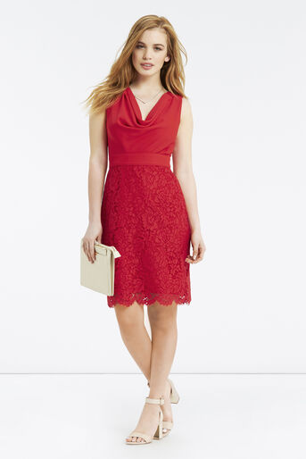Oasis, Petite Cowl Neck Dress Rich Red 2