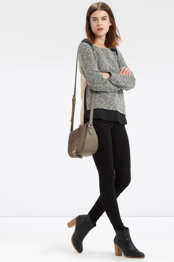 Oasis, Artisan Woven Back Sweat Black and White 2
