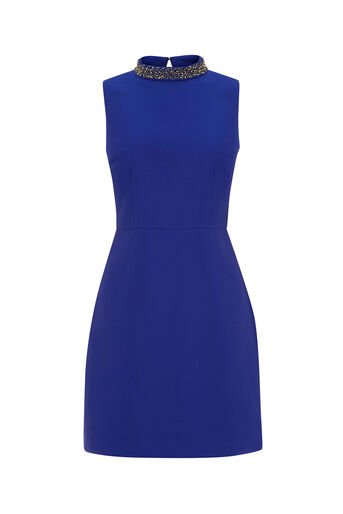 Oasis, SATIN TWILL EMBELLISHED SHIFT Cobalt Blue 0