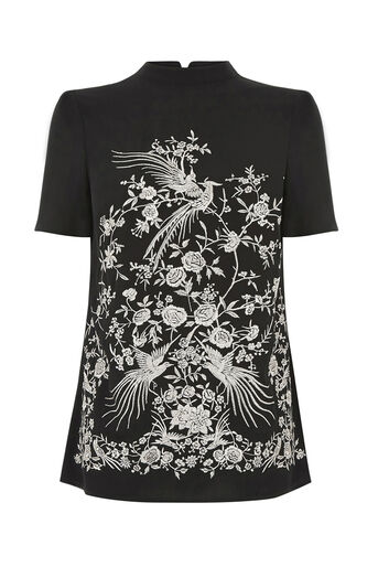 Oasis, OSAKA EMBROIDERED TEE Black 0