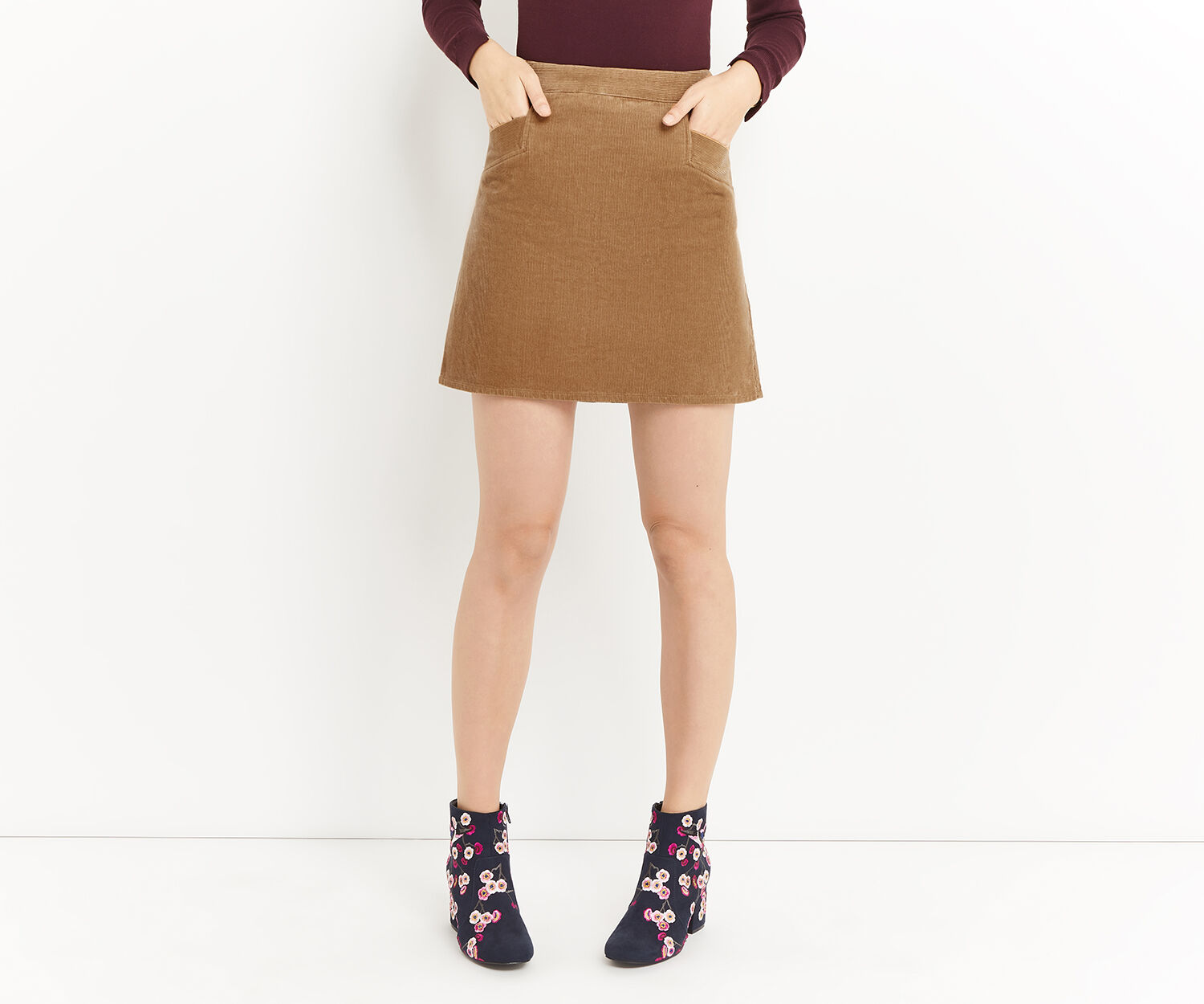 Oasis, CUT ABOUT CORD SKIRT Tan 1