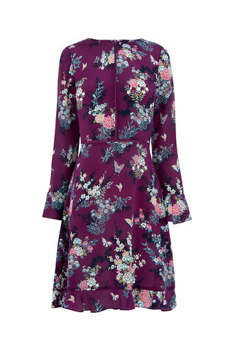 Oasis, KIMONO SILK SKATER DRESS Multi Purple 0