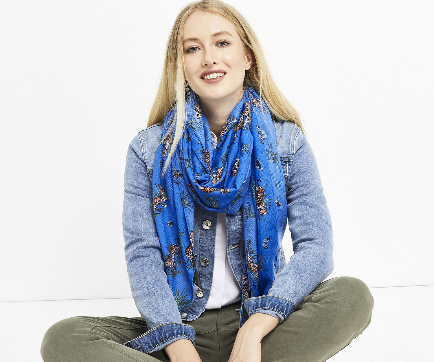 Oasis, ZSL TIGER SCARF Multi Blue 1