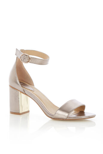 Oasis, Roxy Block Heel Metallic Pewter 0