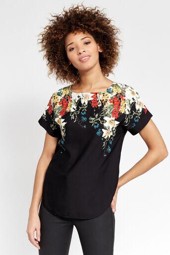 Oasis, T-shirt bouquet d'hiver Noir multicolore 1