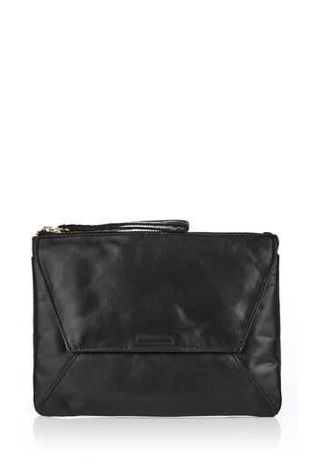 Oasis, LEATHER DEX CLUTCH Black 0