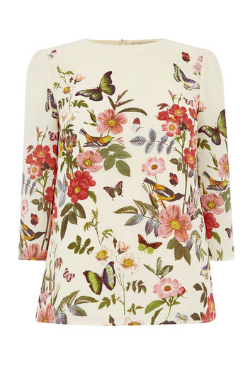 Oasis, AMELIA FLORAL PLACEMENT TOP Off White 0
