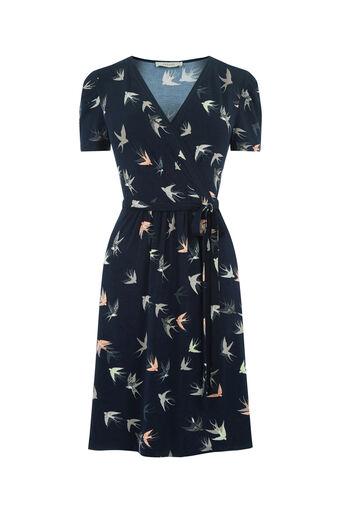 Oasis, SASHIKO BIRD SKATER DRESS Navy 0
