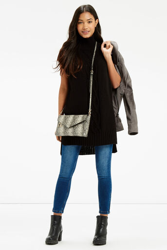 Oasis, Longline Knitted Tunic Black 2
