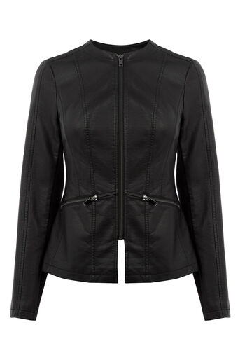 Oasis, FAUX LEATHER COLLARLESS JACKET Black 0