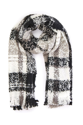 Oasis, BOUCLE CHECK SCARF Black and White 0