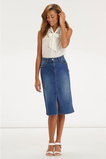 Oasis, Plaited Midi Skirt Denim 2