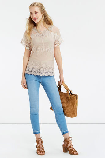 Oasis, Mesh Lace Top Off White 2