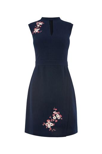 Oasis, LONG BLOSSOM SHIFT DRESS Navy 0