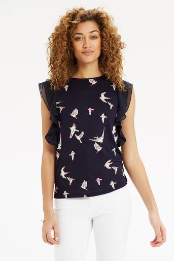 Oasis, Bird Print Lace Trim T-Shirt Navy 1