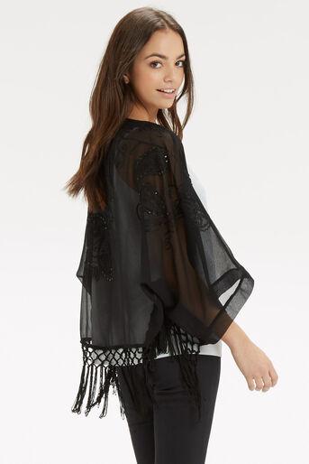 Oasis, Sequin Suki Kimono Black 3