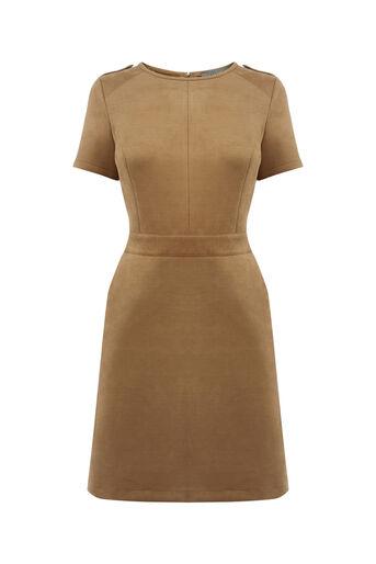 Oasis, SUEDETTE SHIFT DRESS Tan 0