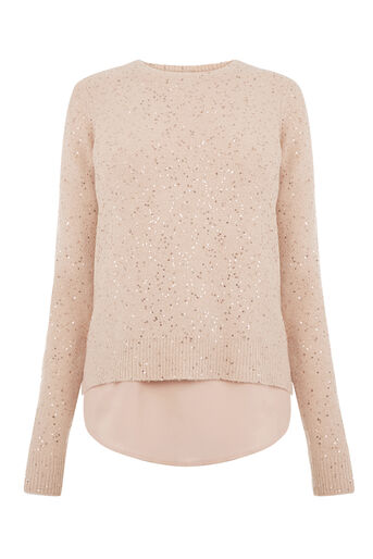 Oasis, PETAL BACK SEQUIN TOP Pale Pink 0