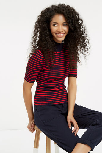 Oasis, Ribbed High Neck Top Multi 1