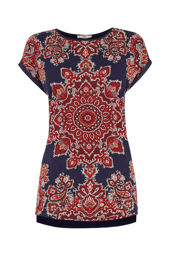 Oasis, Paisley Print T-Shirt Mid Blue 0