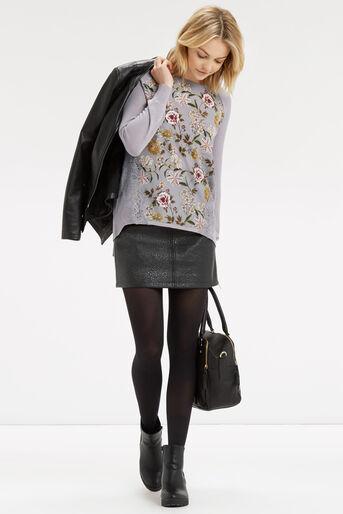 Oasis, Opium Lace Wovenfront Knit Multi Grey 2