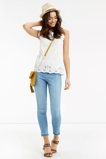 Oasis, Cutout Broderie Top White 2