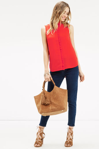Oasis, Emerald Frill Shirt Mid Red 2