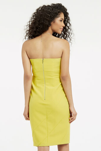 Oasis, STRUCTURED BANDEAU DRESS Lime Green 3
