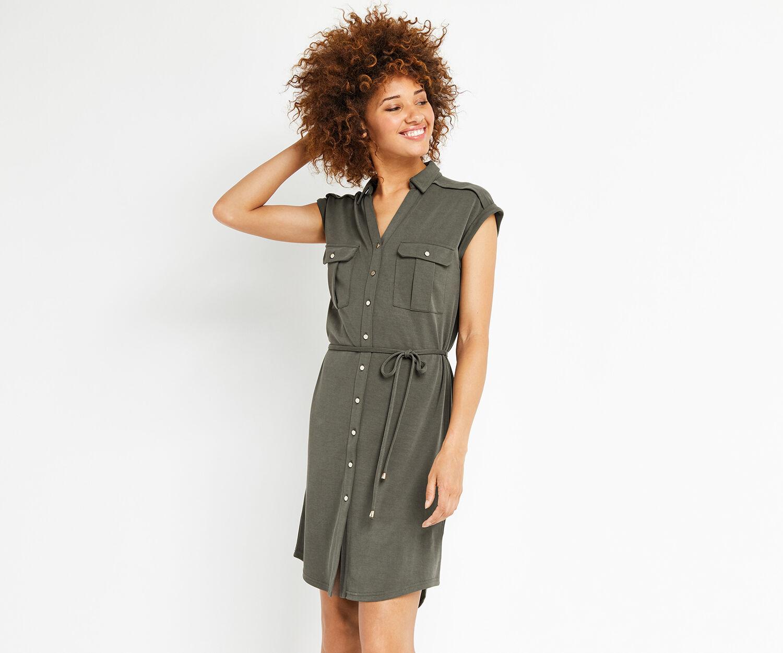 Oasis, sleeveless shirt dress Khaki 1