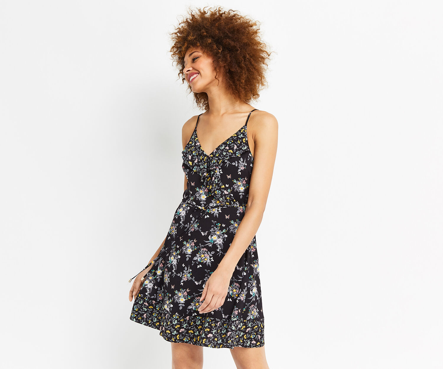 Oasis, DITSY SUNDRESS Multi Black 1
