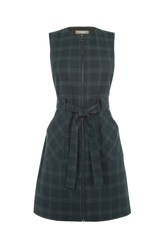 Oasis, CHECK ZIP FRONT DRESS Multi Green 0