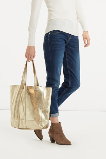 Oasis, Unlined Leather Shopper Gold 1