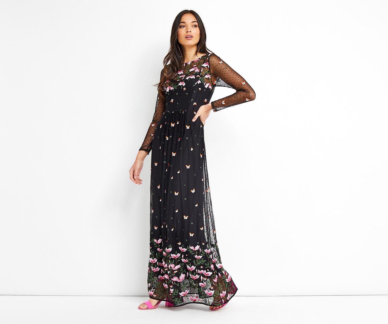 Oasis, EMBROIDERED MAXI DRESS Multi Black 1
