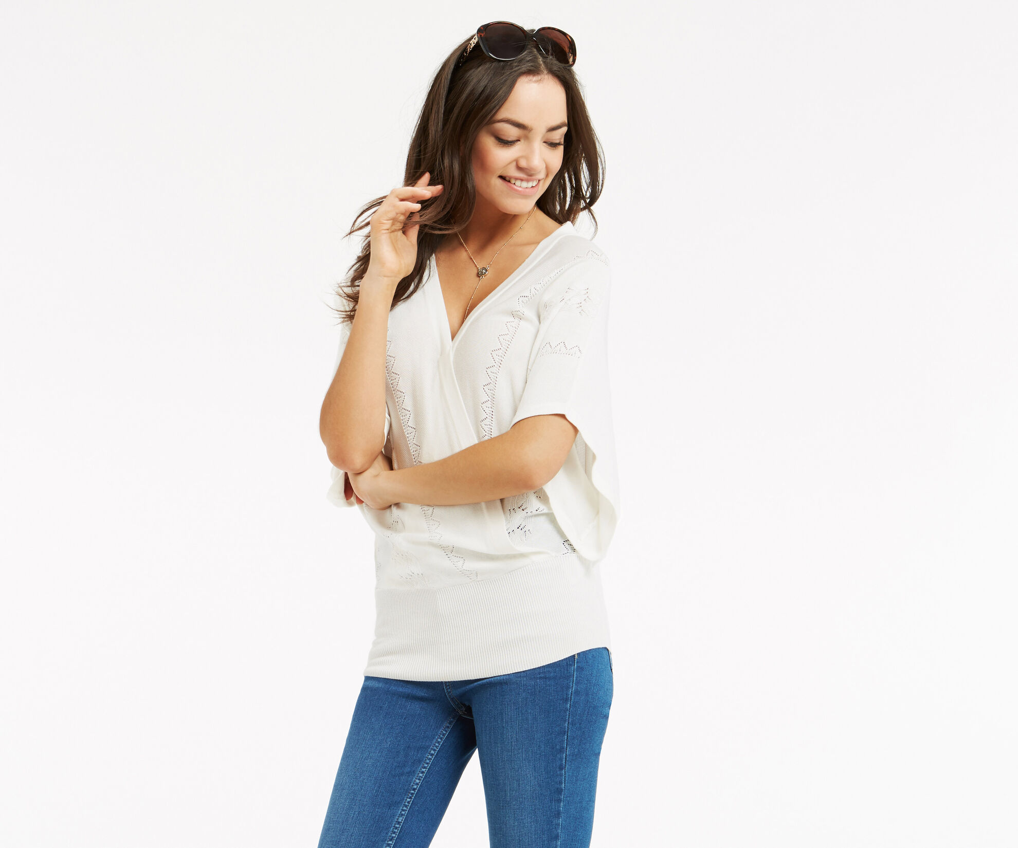 Oasis, Pointelle Summer Wrap Top Off White 1