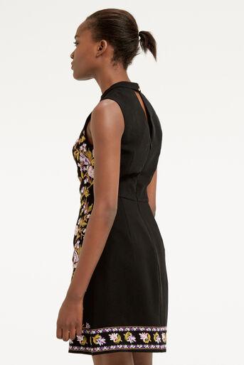 Oasis, EMBROIDERED HIGH NECK DRESS Multi Black 3