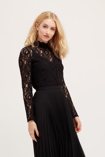 Oasis, LACE TURTLENECK TOP Black 1