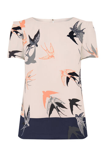 Oasis, BIRD PRINT FORMAL TEE Multi White 0