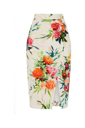 Oasis, Floral Pencil Skirt Multi Natural 0