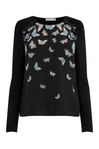 Oasis, FOREST BUTTERFLY BLOUSE Black 0