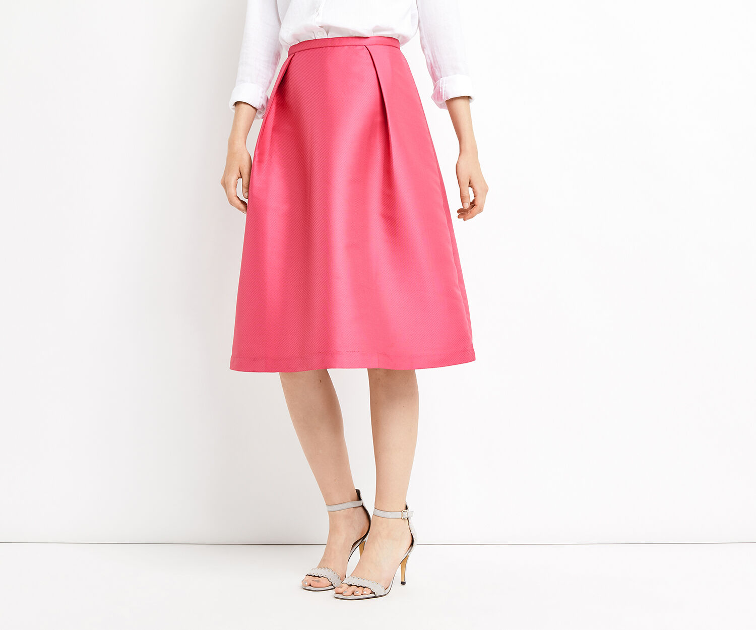 Oasis, SATIN TWILL MIDI SKIRT Bright Pink 1