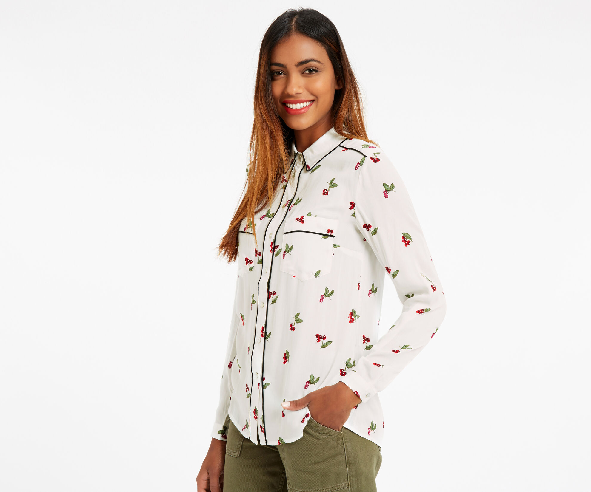 Oasis, CHERRY PIPED SHIRT Multi Natural 1