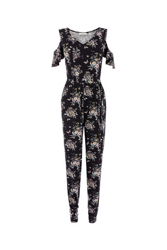 Oasis, SHIPWRECKED WRAP JUMPSUIT Multi Black 0