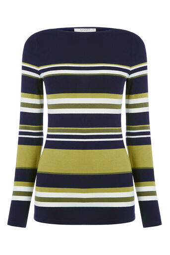 Oasis, STRIPE BOAT NECK TOP Multi 0