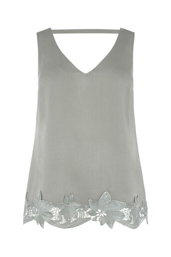 Oasis, V FRONT AND BACK LACE VEST Khaki 0